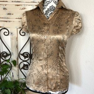 Bebe champagne color embroidered detail silk top